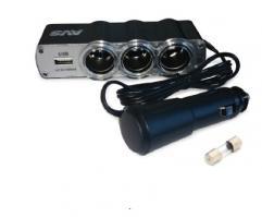 Разветвитель прикуривателя 12/24V (на 3 выхода + USB)  CS314U