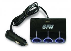Разветвитель прикуривателя 12/24V (на 3 выхода + USB) AVS CS317U