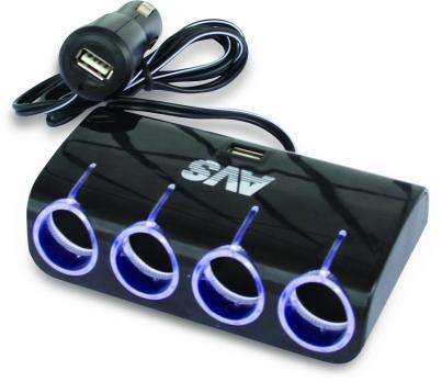 Разветвитель прикуривателя 12/24V (на 4 выхода + 2 USB) AVS CS410U