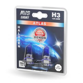 Лампа галогенная AVS ATLAS /5000К/ H3.12V.55W (блистер, 2 шт.)
