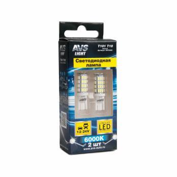 T10 T101 /белый/ (W2.1x9.5D) 54SMD 3014 9-30V W5W, коробка 2 шт.