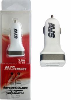 Автомобильное зарядное устройство USB (2 порта) AVS UC-323 (3,6А)