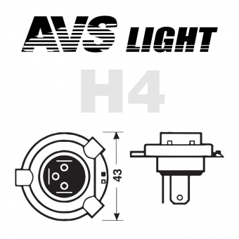 Лампа галогенная AVS SIRIUS NIGHT WAY H4.12V.60/55W Plastic box -2 шт.