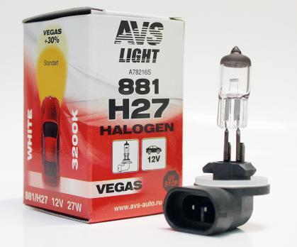 Лампа галогенная AVS Vegas H27/881 12V.27W (1 шт.)