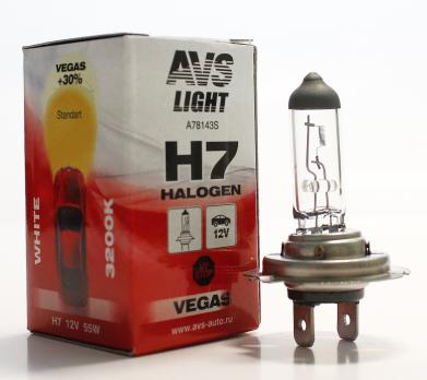 Лампа галогенная AVS Vegas H7.12V.55W (1 шт.)