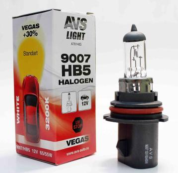 Лампа галогенная AVS Vegas HB5/9007. 12V.65/55W (1 шт.)