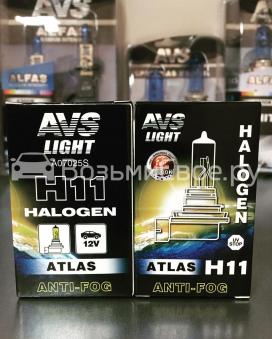 Галогенная лампа AVS ATLAS ANTI-FOG BOX желтый H11.12V.55W (коробка-1шт.)