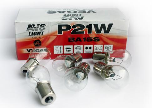 Лампа AVS Vegas 12V. P21W (BA15S) BOX (10 шт.)