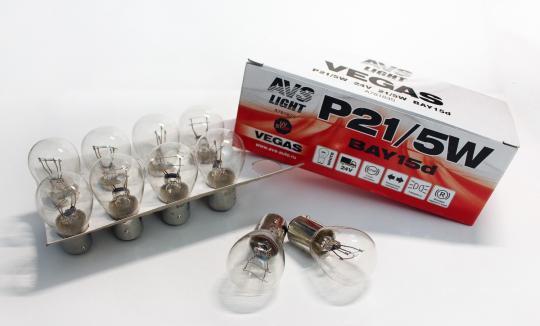Лампа AVS Vegas 24V. P21/5W (BAY15D) BOX (10 шт.)