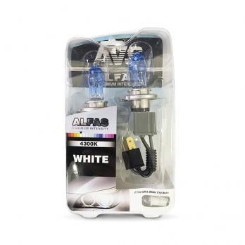 Газонаполненные лампы AVS Alfas +130% 4300K H4 комплект 2 шт.