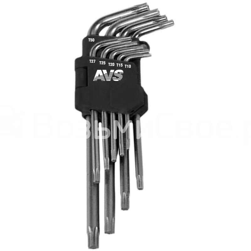 Набор ключей торцевых изогнутых коротких TORX 9 предметов (T10-T50) AVS TXS-9