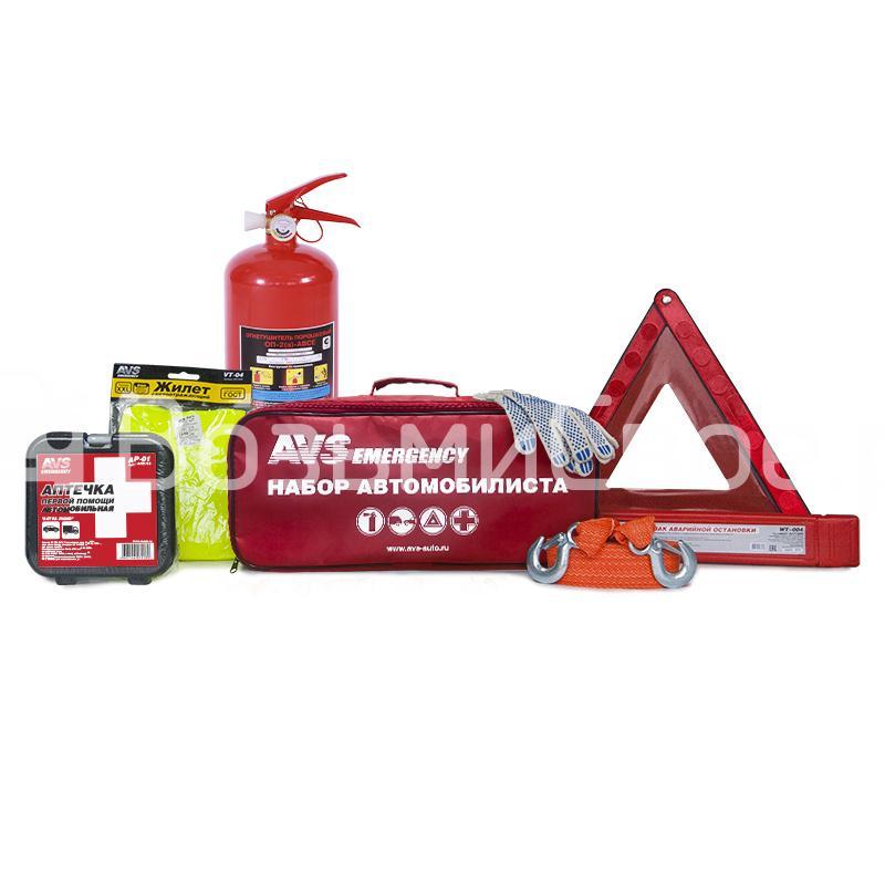 Набор автомобилиста 7 предметов AVS AN-02R (красная сумка)