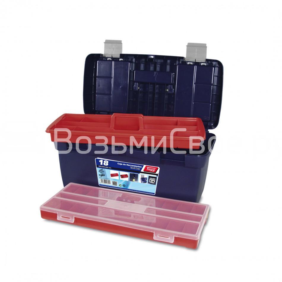 Ящик для инструментов TAYG №18 + лоток + футляр + 2 органайзера в крышке