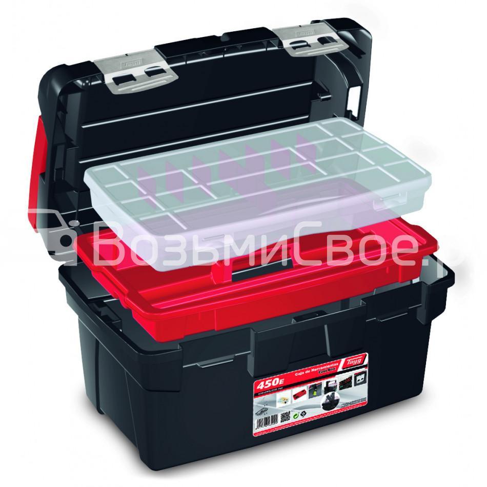 Ящик для инструментов TAYG №450Е + лоток + органайзер + органайзер в крышке